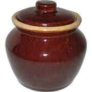 "Brown Glazed Stoneware ""Bean Pot"" Sugar Bowl"