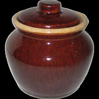 "Brown Glazed Stoneware ""Bean Pot"" Sugar Bowl"