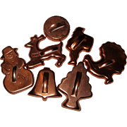 Set of Eight 1960's Copper-colored Anodized Aluminum Holiday Cookie Cutters