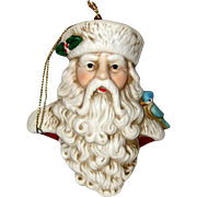 Bisque Porcelain Old Fashioned Santa Ornament