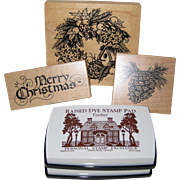 1992 - 1993 Retired Personal Stamp Exchange Christmas Craft Set with Wreath, Pine Cone and Old Fashioned Greeting