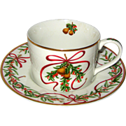 Royal Gallery Queensberry Christmas China Cup and Saucer - 1991 RH Macy Exclusive