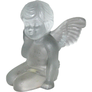 Frosted Glass Angel or Cherub Candle Holder