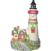 Ceramic Holiday Lighthouse Decoration or Night Light - Lights Up!