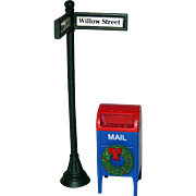Two Department 56 Village Accessories - Street Sign and Christmas Mailbox