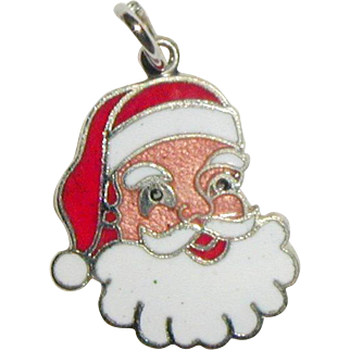 Sterling and Enamel Smiling Santa Claus Charm