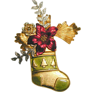 Christmas Stocking Pin with Three Dimensional Flowers - Signed KC