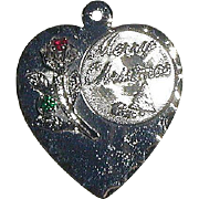 Sterling Merry Christmas Heart Charm with Rose and Rhinestones