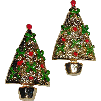 Pair of 1970's Gold-tone Christmas Tree Pins