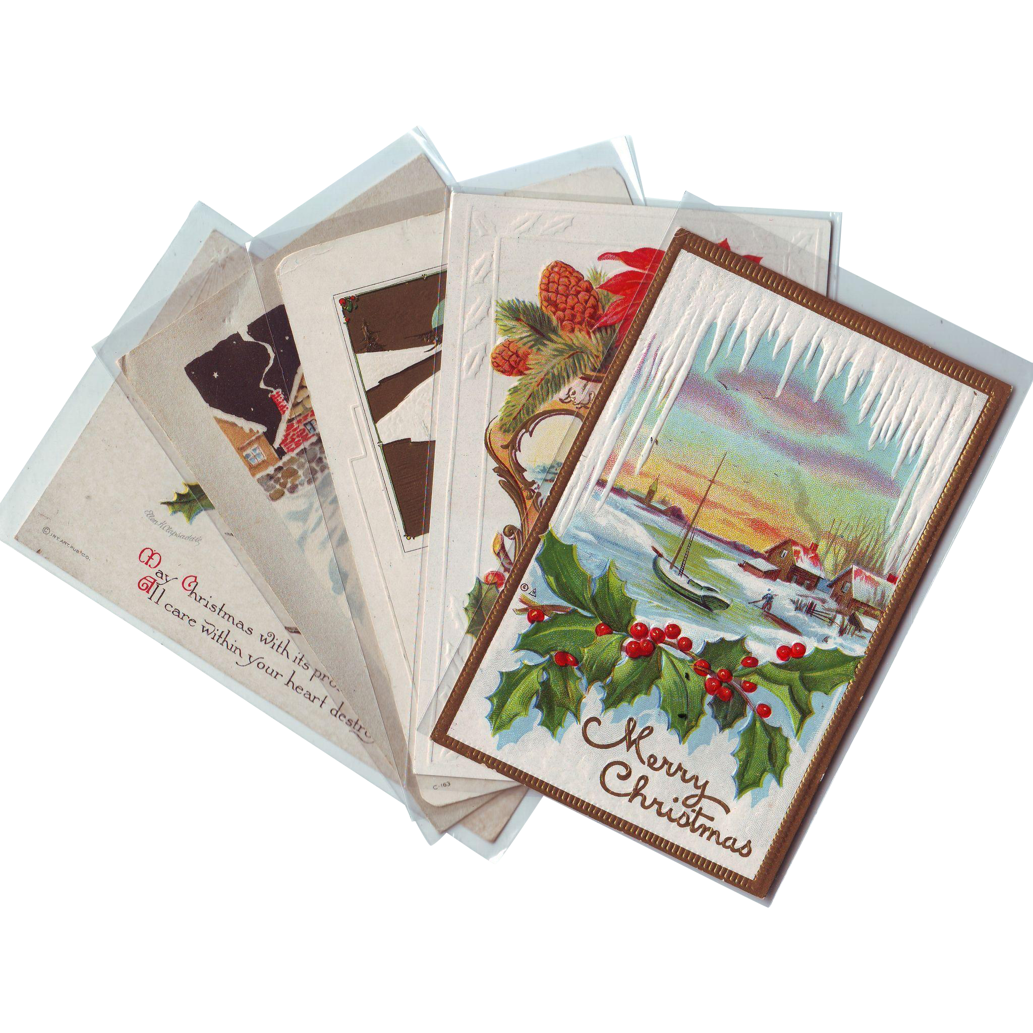 Five Vintage Christmas Postcards with Beautiful Scenes - Early 1900's