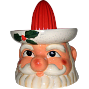 Vintage 1980's Ceramic Cracker Barrel Christmas Santa Claus Juice Reamer- Unused in Box