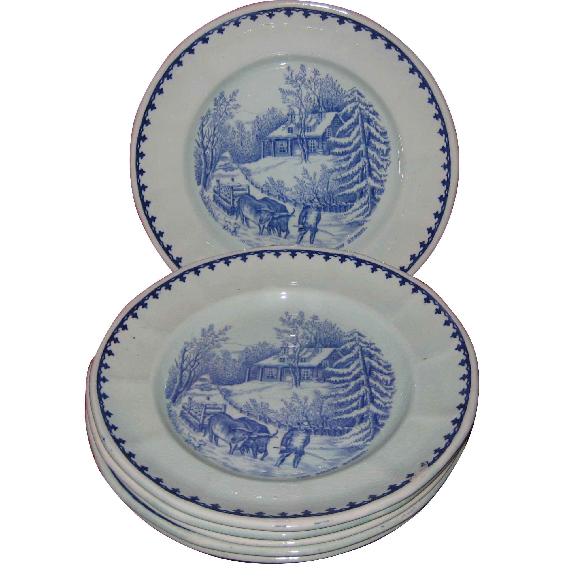 "Adams Pottery - Set of Eight Holiday Winter Plates - Blue on Off White Currier and Ives Pattern ""The Snow Storm"""
