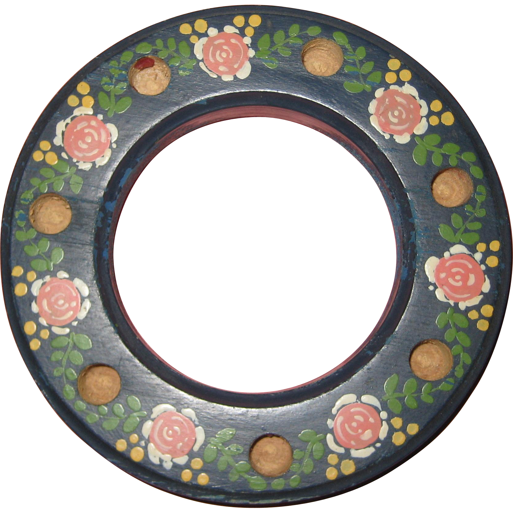 Hand Painted Swedish Folk Art Wooden Candle Ring