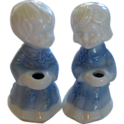 Pair of Blue and White Candle Holders - Children in Nightgowns