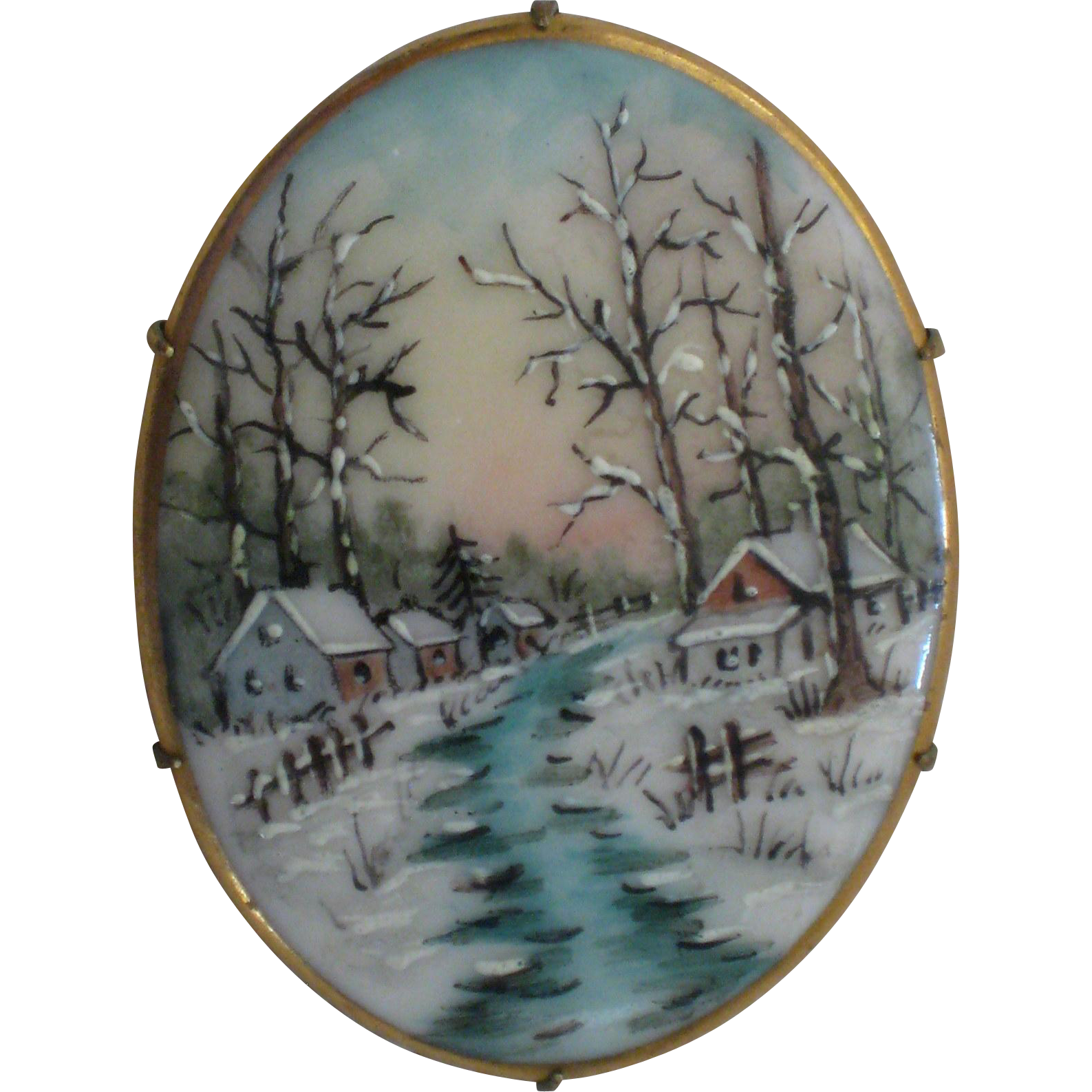 Hand Painted Porcelain Brooch - Snowy Winter Woods