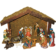 Traditional Wooden Creche with Twelve Porcelain Figures
