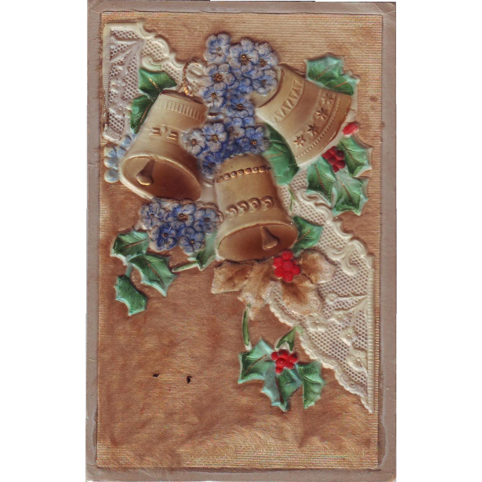 Unusual Heavily Embossed German Christmas Postcard with Fur and Bells