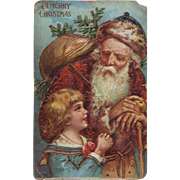 Wonderful German Postcard with Old Fashioned Santa - Circa 1910