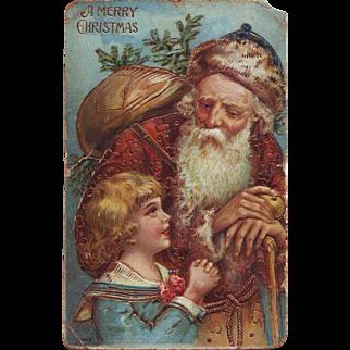 Wonderful German Postcard with Old Fashioned Santa - Circa 1910