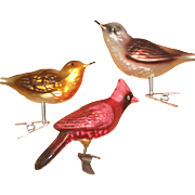 Three Clip-on Mercury Glass Bird Ornaments