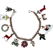 Sterling Silver and Enamel Christmas Charm Bracelet with Eleven Holiday Charms