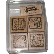 "Five ""Stampin Up"" Christmas Winter Rubber Stamps - 1992, 1997"