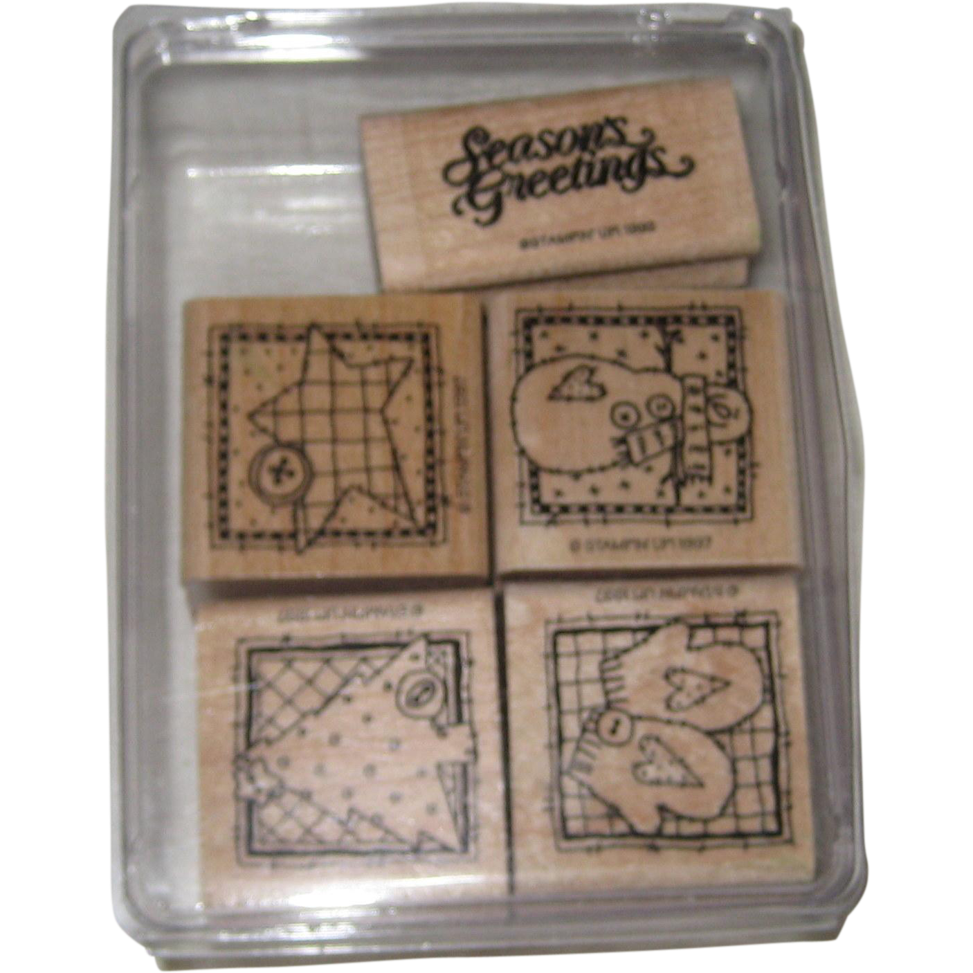 """Five """"Stampin Up"""" Christmas Winter Rubber Stamps - 1992, 1997"""