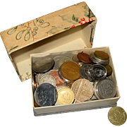 Vintage Box with 130 Old Foreign Coins - Many Countries!