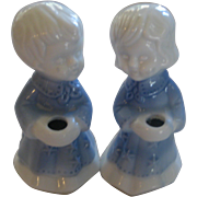 Pair of Blue and White Ceramic Candle Holders - Children in Nightgowns