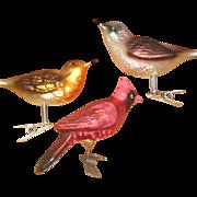 Three Clip-on Mercury Glass Bird Ornaments