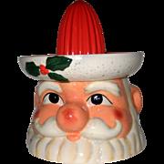 Vintage 1980's Ceramic Cracker Barrel Christmas Santa Claus Juice Reamer- Unused in Box