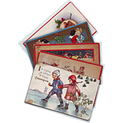 Five Vintage Christmas Postcards with Children and Santa - Early 1900's