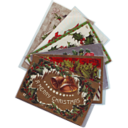 Six Vintage Christmas Postcards with Holly, Poinsettia and Mistletoe