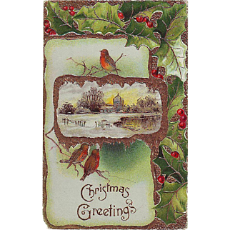Embossed Christmas Postcard with Birds and Holly - German - 1910