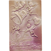 Beautiful Embossed Christmas Postcard with Cherubs, Bells and Glitter - Circa 1915