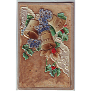 Unusual Heavily Embossed German Christmas Postcard with Velvet and Bells
