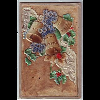 Unusual Heavily Embossed German Christmas Postcard with Velvet and Bells