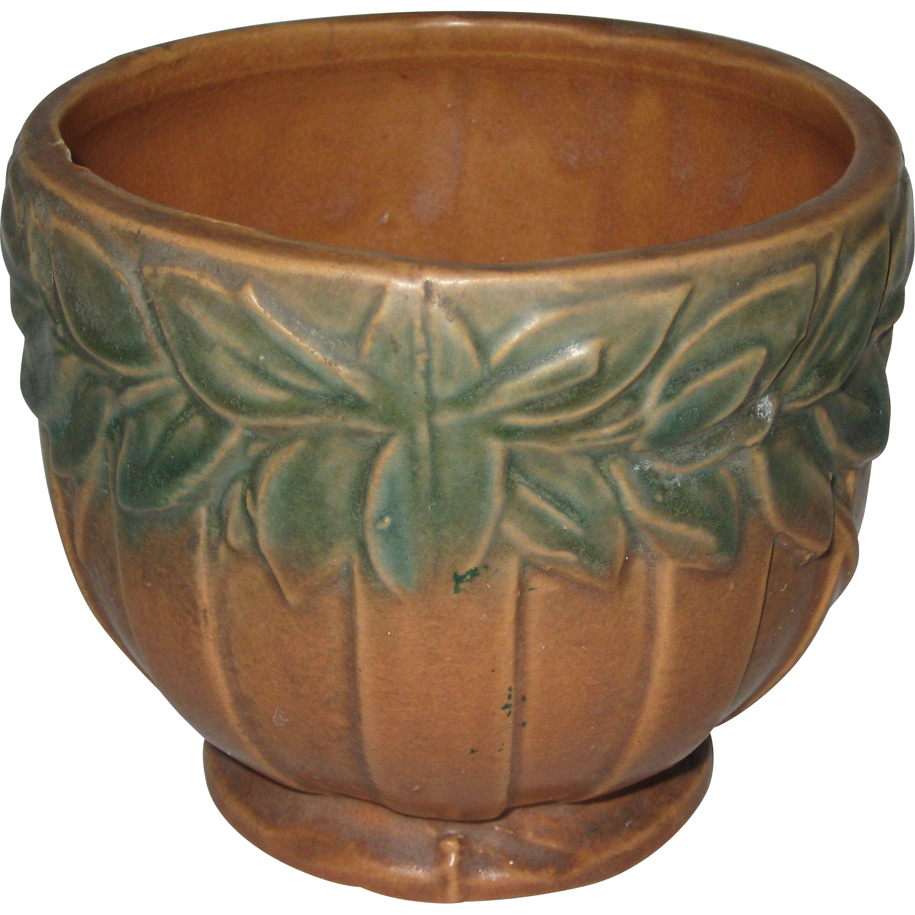 1930's Unmarked McCoy Brown and Green Laurel Leaves Pattern Planter or Jardiniere