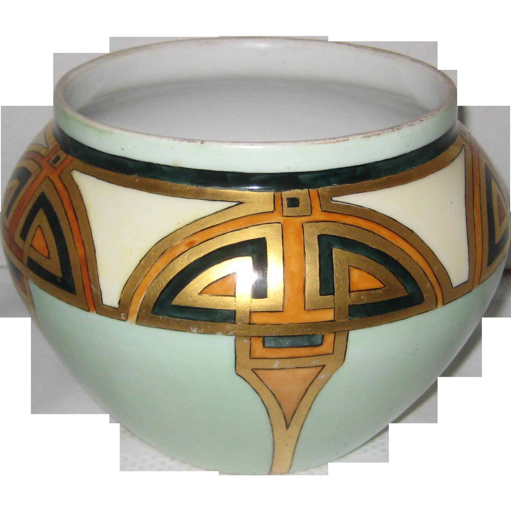 D & Co France Delinieres Porcelain Art Deco Jardiniere or Planter Vase
