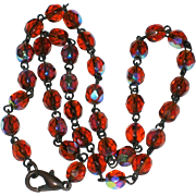 "16"" Necklace of Faceted Amber Crystal Beads with Aurora Borealis Finish"
