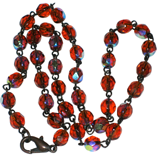 """16"""" Necklace of Faceted Amber Crystal Beads with Aurora Borealis Finish"""