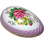 Large Porcelain Easter Egg Box with Roses and Purple Luster Trim - 1950's Japan