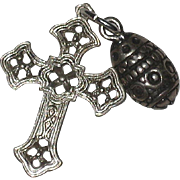 Double Sterling Silver Charm - Easter Egg and Cross