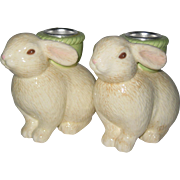 Hallmark 1991 Easter Bunny Ceramic Candleholders in Original Box