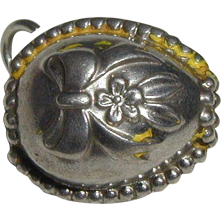 Sterling Silver Easter Egg Charm with Flowers and Beaded Edge