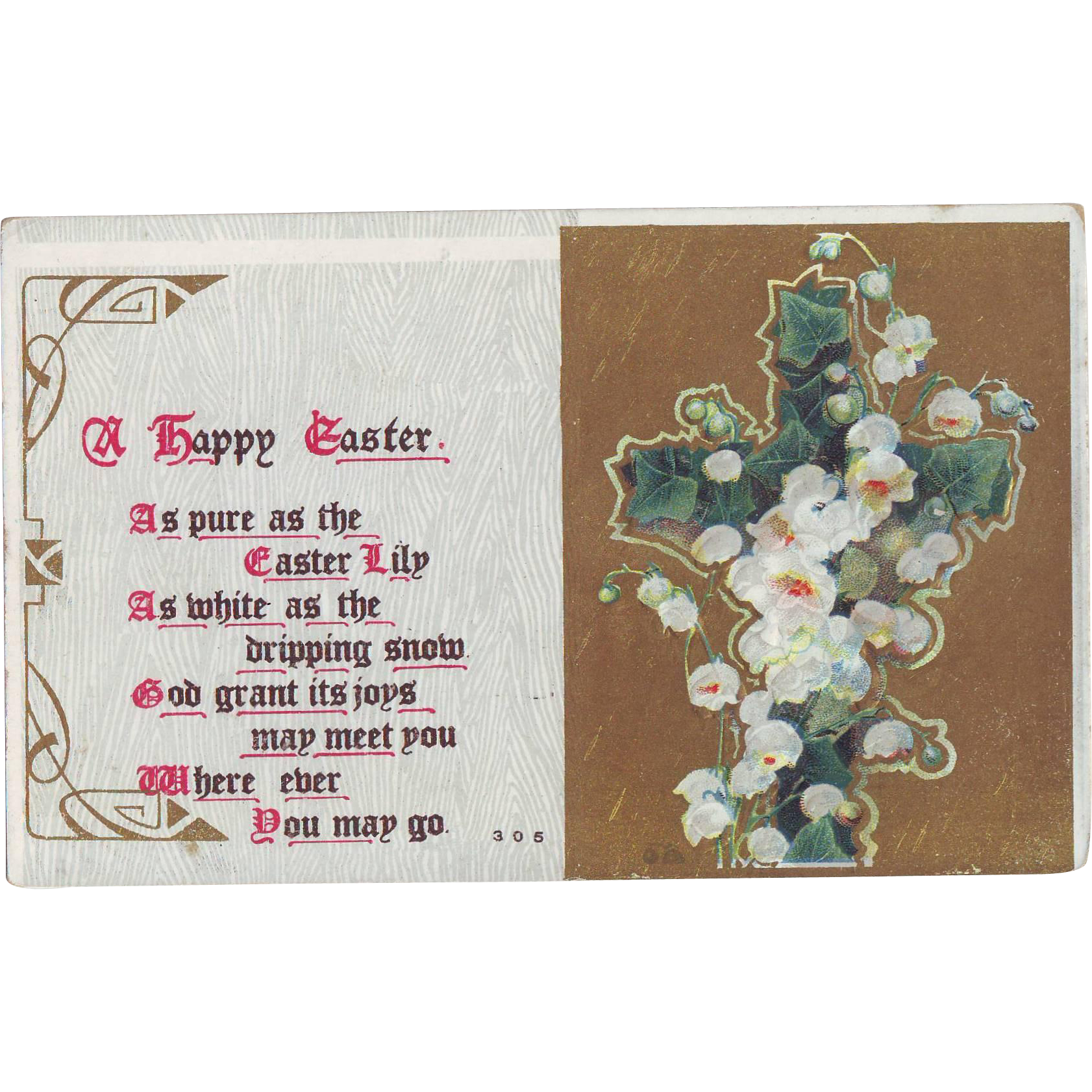 Vintage Easter Postcard with Lily of the Valley