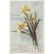 Vintage Easter Postcard - Yellow Iris 1917
