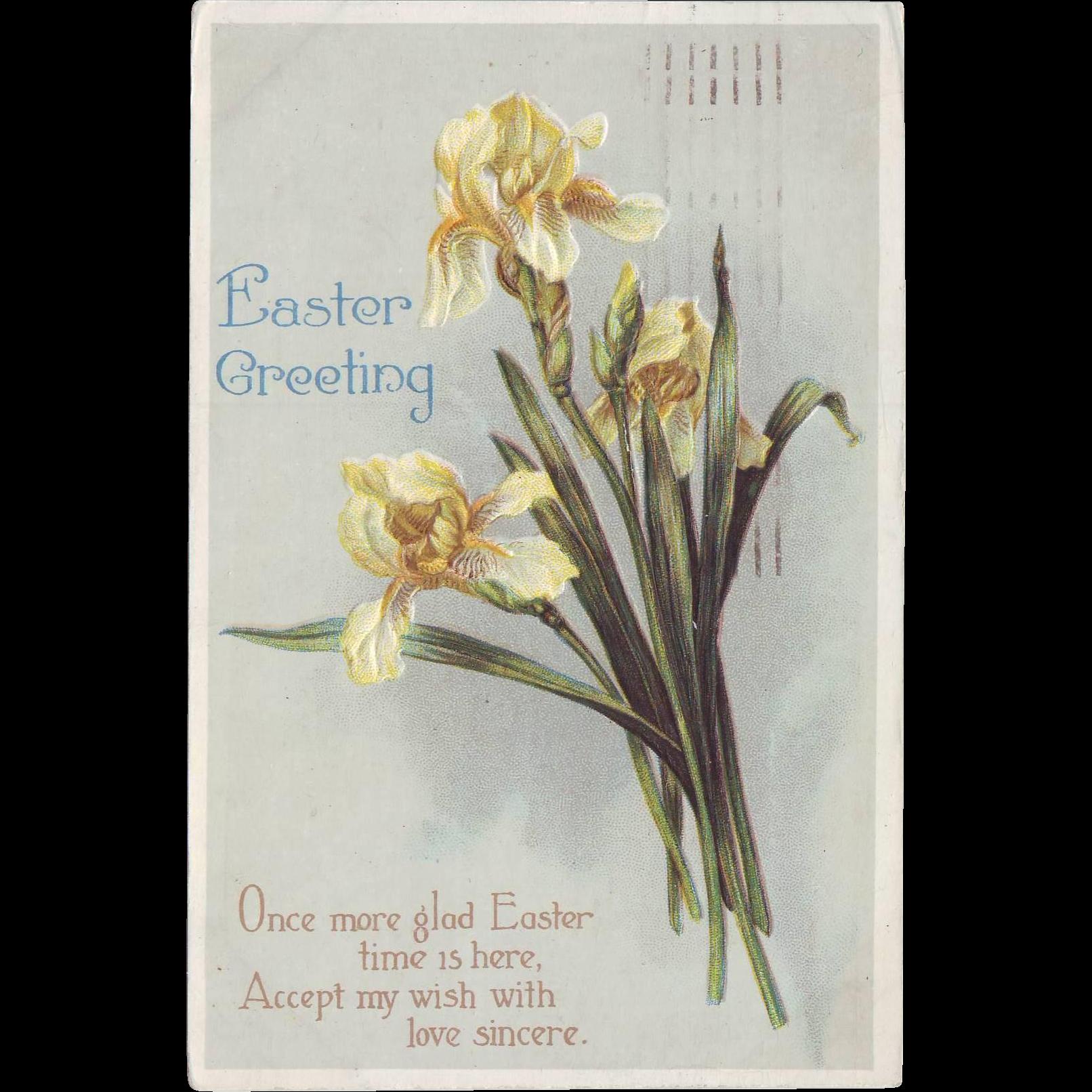 Vintage Easter Postcard - Yellow Iris 1917