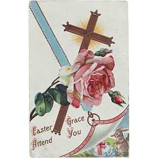 Vintage Easter Postcard with Rose and Bunny