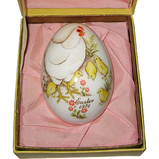 1973 Noritake Bone China Easter Egg - Original Box - Hen and Chicks